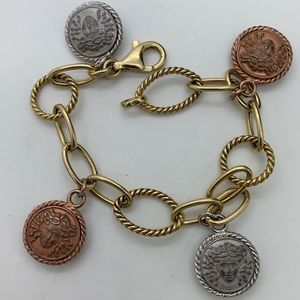 Versace 925 Italy Charms Medusa Bracelet 7 Inches